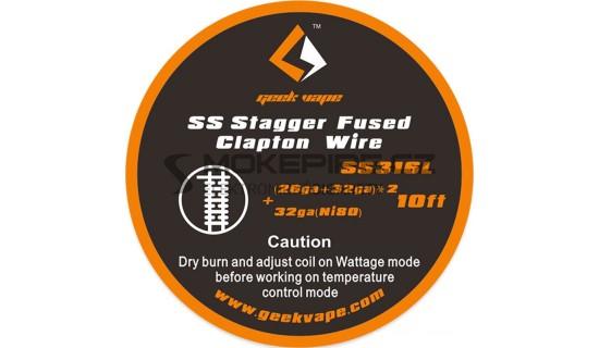 GeekVape SS Stagger Fused Clapton Drát (26GA+32GA) x2 +32GA - 3m